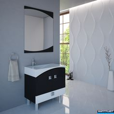 Bathroom furniture - Valencia; Dimensions:  Cabinet - 81x45x65 cm;  Mirror - 80x100x2 cm;  Total hight of the cabinet - 84 cm;