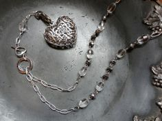 Crystal bead necklace for keys or other pendants