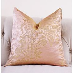 Gold Brocade Pillow Cover Designer Blush Pink and Gold Pillow Cover... ($75) ❤ liked on Polyvore featuring home, home decor, throw pillows, decorative pillows, home & living, home décor, silver, rectangular throw pillows, metallic throw pillows and rectangular pillow inserts