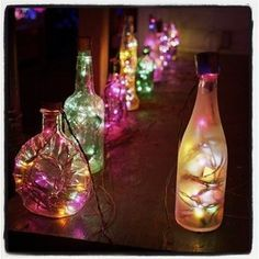 Fairy lights in a bottle - looks like a lot of alcohol must be consumed haha. I spy a malibu coconut rum bottle!