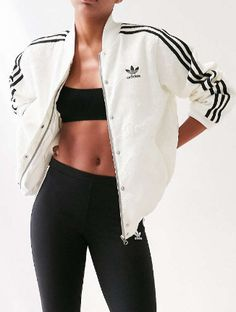 adidas Originals + UO Floral Jacquard Bomber Jacket 40 Casual Bomber Jacket Outfits for Winters 'Cause it's Back in Trend' City Outfits, Sporty Outfits, Fashion Outfits, Adidas Outfit, Active Wear For Women, Jacket Style, Sport Fashion, Adidas Originals, Clothes For Women