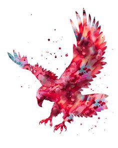 Eagle print red aqua eagle print bold eagle art by FluidDiamondArt