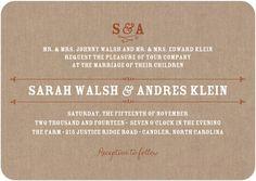 Signature White Wedding Invitations Burlap Monogram - Front : Caramel