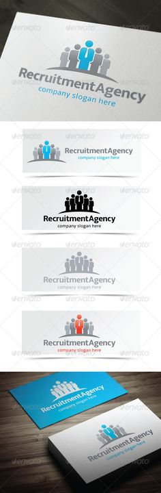 Recruitment Agency Logo Design Template Vector #logotype Download it here: http://graphicriver.net/item/recruitment-agency/4588101?s_rank=298?ref=nesto