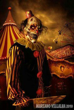 You know shit just got real when there are zombie clowns involved. (ART: 'Creepy Show' by Creepy Carnival, Creepy Clown, Creepy Art, Creepy Circus, Haunted Carnival, Halloween Clown, Theme Halloween, Halloween Carnival, Halloween Humor