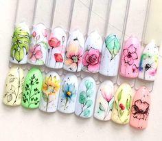 Rose Nails, Flower Nails, Art Deco Nails, Art Nails, Acrylic Nails, Water Color Nails, Nagellack Design, Nail Art Techniques, Floral Nail Art