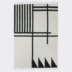 Ferm Living - Kelim Rug Black Lines Large, 140 x 200 cm $399.00