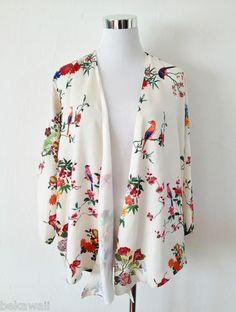 NWOT Zara FLORAL PRINT FLOWING CARDIGAN KIMONO TOP COAT JACKET BLAZER Size M