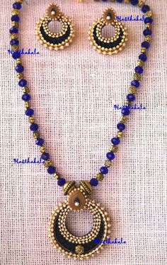 This necklace is made using crystal and acrylic beads along with this beautiful paper pendent. These polki paper earrings are a perfect combination of style and elegance. On www.facebook.com/hasthakala2014