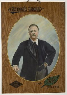 Teddy Roosevelt Tobacco Tin Sign Coshocton Ohio, Tin Signs, Roosevelt, Tins, Art Pieces, Auction, Jar, Smoke, History