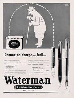 Vintage French Ad - Waterman Pens 1954.