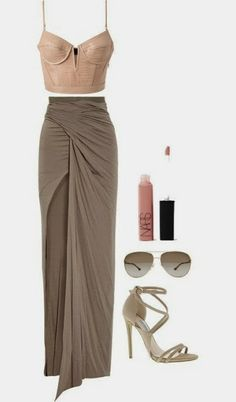 I love this skirt! Perhaps a longer bustier or maybe a different top but in the same blush pink color