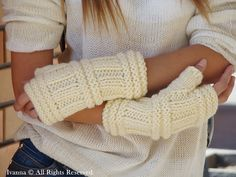 gloves / gloves knitted / white / wool blend / women's by IvannaN