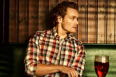 Sam Heughan upgrading his shirt game with Barbour and British GQ