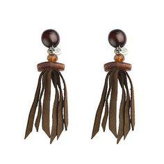 Brown fringe earrings
