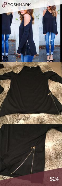 Long Sleeve Cold Shoulder Tee With Side Panel Zip Long sleeve black cold shoulder cotton & polyester (panel) blend top with side zip panel. Sizing: Small (4), Medium (6), Large (8), X-Large (10). Price is firm unless bundled Tops Tees - Long Sleeve
