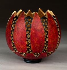 Red Votive, x x inches, sold Decorative Gourds, Hand Painted Gourds, Coconut Shell Crafts, Gourds Birdhouse, Gourd Lamp, Native American Pottery, Creation Deco, Handmade Pottery, Wood Carving