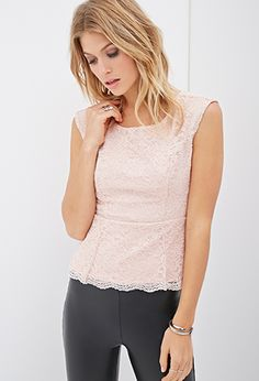 Scalloped Lace Peplum Top | FOREVER21 - 2000067180
