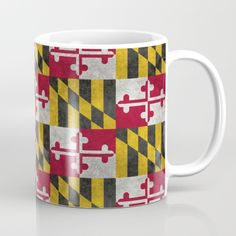 Available in 11 and 15 ounce sizes, our premium ceramic coffee mugs feature wrap-around art and large handles for easy gripping. Dishwasher and microwave safe, these cool coffee mugs will be your new favorite way to consume hot or cold beverages. #maryland #marylandflag #vintagemarylandflag