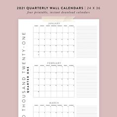 Printable 2021 Quarterly Wall Calendars 4 24x36 Posters | Etsy