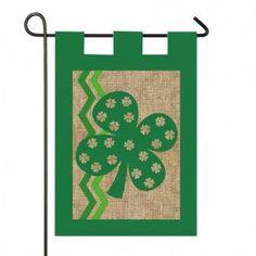 St. Patrick's Day Burlap Garden Flag