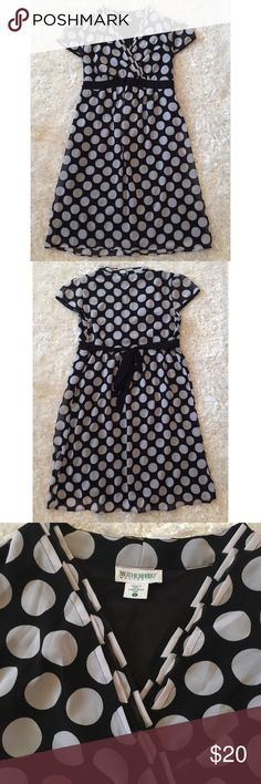 Motherhood Maternity Dress Motherhood Maternity polka dot dress, flutter sleeves, ties in the back. 100% polyester. Has a lining and the chiffon type fabric on top. Motherhood Maternity Dresses Midi