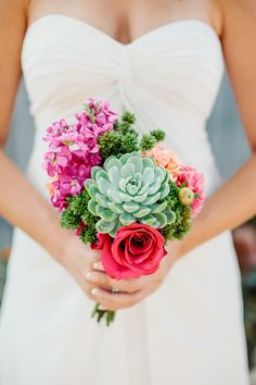 Bouquet with Succulents - On http://www.StyleMePretty.com/2014/03/20/fiesta-wedding-at-maravilla-gardens/ Marianne Wilson Photography on #SMP