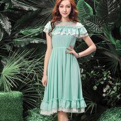 Sweet Style O Neck Ruffles Lace High Waist Knee Length Dresses