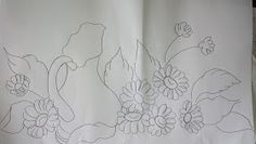 Pincel que brilha : Riscos da vídeo aula. Pencil Drawings, Textiles, Shower, Prints, Stencil, Bb, Flower Designs, Perfect Love, Chinese Embroidery