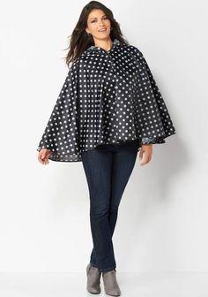 womens polka dot rain poncho
