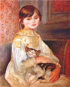 Child with Cat (Julie Manete)  This one of my very favorites   Pierre-Auguste Renoir