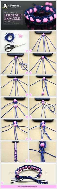 WOW +++ TUTORIAL +++ macramé +++ Ideas on how to make a friendship bracelet with beads; as same as the trendy Shamballa bracelet, you can make these fabulous friendship bracelet more distinctive simply by adding some beads in. Seed Bead Bracelets Tutorials, String Bracelet Patterns, Beaded Bracelets Tutorial, Embroidery Bracelets, Diy Bracelets With Beads, Macrame Tutorial, How To Make Braclets, Embroidery Floss Crafts, Paracord Tutorial