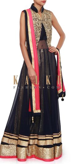 Buy Online from the link below. We ship worldwide (Free Shipping over US$100). Product SKU - 304248.Product Link - http://www.kalkifashion.com/navy-blue-anarkali-suit-embellished-in-zari-embroidery-only-on-kalki.html