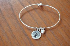 Silver plated wire charm bracelet with Tree of by SydneyandDanny, $10.00
