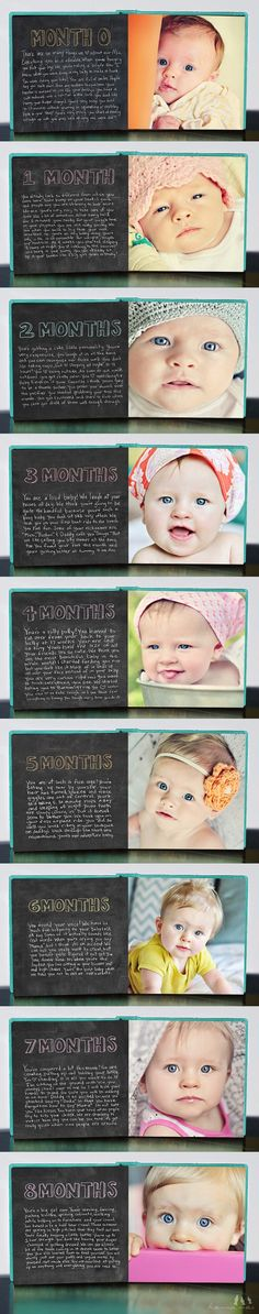 Stoker Scheetz Month by month baby book. With baby girl's first birthday coming up I've been trying to decide what to do for a baby book. Love this idea. Baby Kind, Baby Love, Baby Baby, Cute Kids, Cute Babies, Baby Monat Für Monat, Baby Photo Books, Baby Books, Foto Newborn