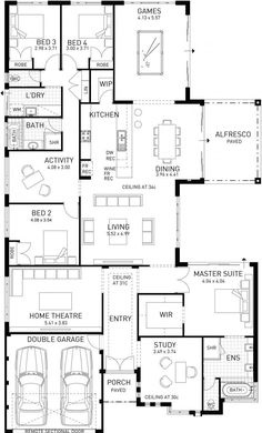 Cable Beach, Single Storey Display Floor Plan, WA Get rid of games room and make extra bedrooms/bathrooms bigger. Get rid of bath in ensuite and bigger shower Sims House Plans, House Layout Plans, Best House Plans, Dream House Plans, House Layouts, House Floor Plans, Home Design Floor Plans, Storey Homes, House Blueprints
