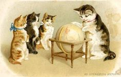 vintage kitten greeting card clipart | ... vintage clip art and greeting cards by linking to us from your blog or
