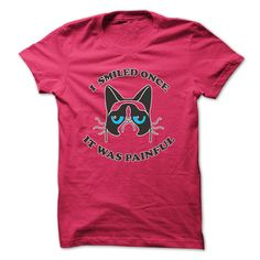 I Smiled Once, it was painful - Funny Grumpy Cat T Shirt - Only available in hot pink.
