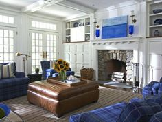 Nautical Living Room Fireplace  Charming Americana A light-filled rustic living room has plenty of seating as well as charming character thanks to blue furniture and accessories. Design by Lynn Morgan