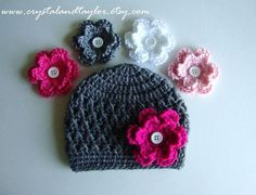 Grey+ideas+for+crochet | Newborn Baby Crochet Hat/Beanie in Gray with 4 by crystalandtaylor, $ ...