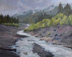 View from Longmire Bridge II by Nancy Romanovsky Oil ~ 16 x 20