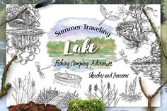 Excited to share the latest addition to my #etsy shop: Summer on the Lake. Sketches.  #nature #tourism #travel #fishing #lake boat digital clip art #summer tree #clipart #landscape #NataliaPiacheva #watercolor #etsylove #EtsyForAll  https://etsy.me/2JB4okT