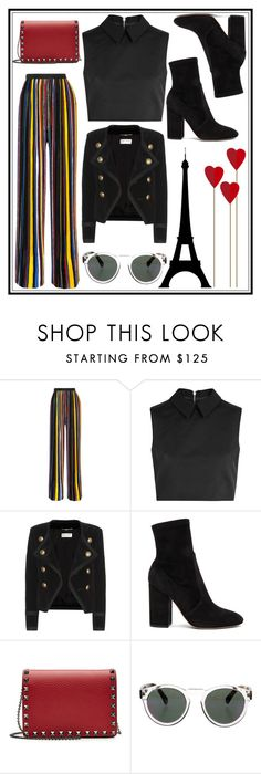 """""""Untitled #281"""" by poorvashikalra ❤ liked on Polyvore featuring Balmain, McQ by Alexander McQueen, Yves Saint Laurent, Valentino and Illesteva"""