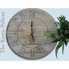 Reclaimed wood Wall Clock -Large Wall Clock -Farmhouse Decor -Rustic... (8.485 RUB) via Polyvore featuring home, home decor, clocks, wood wall clock, wood clock, wood home decor, wooden clock и wooden home decor