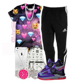 """12~27~14"" by trill-forlife ❤ liked on Polyvore featuring MCM, adidas, Michele and BERRICLE"
