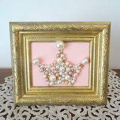 Glitter Wall Art pearl princess crown - pink and gold nursery art - bead, glitter