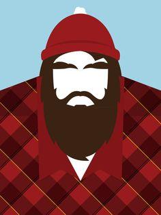 Lumberjack Art Print Barba Grande, Beard Art, Paul Bunyan, Lumberjack Party, Popular Art, Tatoos, Woodland, To Go, Clip Art