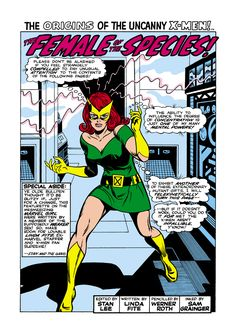 Character: Jean Grey 'aka' Marvel Girl Version Costume Desing: Don Heck. From: Uncanny X- Men, Vols 39 to 101 (with some exceptions), Marvel Comic Series. Parallel Dimension: Earth 913. Image Art: Werner Roth.