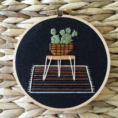 mid century modern cactus embroidery hoop  Lemonmadeshop.etsy.com