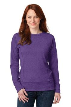 Buy the Anvil Ladies French Terry Crewneck Sweatshirt Style 72000L from SweatShirtStation.com, on sale now for $13.82 Heather Purple #anvil #sweatshirt #ladiestops